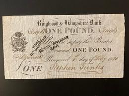 One Pound 1st July 1821 - 1 Pond