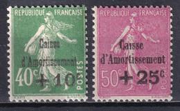 1929 - YVERT N° 253/254 ** MNH ! - COTE = 125 EUR. - SEMEUSE CAISSE AMORTISSEMENT - Sinking Fund