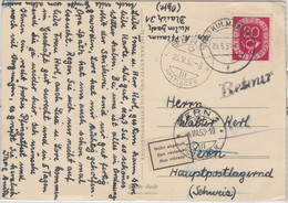 BRD - 20 Pfg. Posthorn Karte I.d. SCHWEIZ Kulmbach Bern/postlagernd 1953 Retour - Cartas