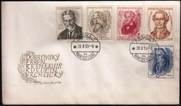 Czechoslovakia Prague 1953 / Czech Writers And Poets, Kukucin, Vrchlicky, Erben, Kramerius, Dobrovsky / FDC - FDC