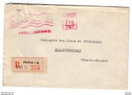 Ema Havas Machine A  Lettre Recommandée 1933 Paris Pour Billy Montigny Pas De Calais - Freistempel