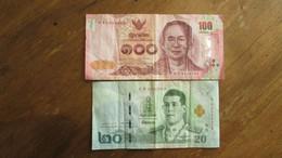 LOT De 2 Anciens Billets. 20 Et 100 Bath. Thaïlande. /2039 - Thailand