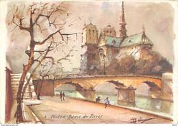 Collection AQUA PICTURA PARIS Notre Dame - Aquarelle Signée Illisible 1966(¬‿¬) ♣ - Konvolute, Lots, Sammlungen