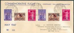Ensemble De 3 Lettres COMMEMORATIVE FLIGHT N.Y. Centenary Philatelic Exhibition MAY 1947 Avec Séries De Tp Belges F. BOV - Luchtpost