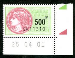 Timbre Fiscal (fiscaux) - Série Fiscale Unifiée (SFU) Neuf N° 511 - Coin Daté Du 25/04/2001 - Fiscale Zegels