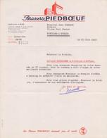 1953: Lettre De La ## Brasserie PIEDBOEUF S.A.,JUPILLE-LIÈGE ##  à ## Mr. GOBEAUX à FONTAINE-l'ÉVÊQUE ## - Lebensmittel