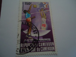 CAMEROON  USED    STAMPS VOLLEYBALL  OLYMPIC GAMES LOS ANGELES 1984  WITH   POSTMARK - Cameroon (1960-...)