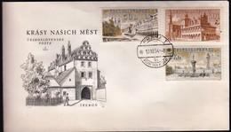 Czechoslovakia 1954 / Czechoslovakian Architecture / Telc, Levoca, Ceske Budejovice / FDC - FDC