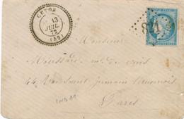 CERES N°60 Obl GC 821 T24 CETON 13/7/72 ORNE - IND11 = 80€ - LETTRE > PARIS - 1872 France Cover - 1849-1876: Klassieke Periode