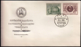 Czechoslovakia Prague 1955 / 35th Anniversary Of Comenius University, Bratislava, Building, Comenius Medal / FDC - FDC