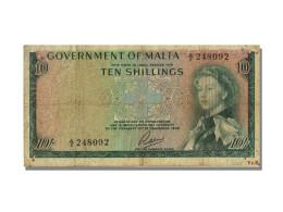 Billet, Malte, 10 Shillings, 1949, KM:25a, TB+ - Malta