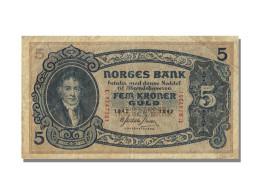 Billet, Norvège, 5 Kroner, 1942, TTB - Norway