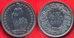 Switzerland Swiss 1/2 Franc (50 Rappen) 2001 VF RARE - Suiza