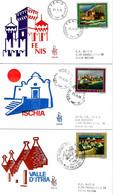 ITALIA - 1976 TURISTICA: ISCHIA, FENIS, VALLE D'ITRIA Su 3 FDC Venetia Viaggiate, 1 Annullo Di Martina Franca (trulli) - F.D.C.