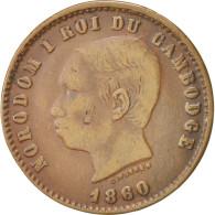 Monnaie, Cambodge, 10 Centimes, 1860, TTB, Bronze, KM:M3 - Cambodia