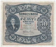Billet, Norvège, 50 Kroner, 1937, TTB - Norway