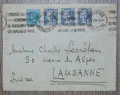 France Lettre 1934 Avec Timbres Aristide Briand (1) & J.M. Jacquard (bande De 3) Oblit. PARIS 55 Pour Lausanne (Suisse) - Covers & Documents