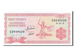 Billet, Burundi, 20 Francs, 1991, 1991-10-01, SPL - Burundi