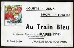 Grand Buvard AU TRAIN BLEU 2 Avenue Mozart Paris XVIe - Jouets / Jeux / Sport / Photo - 2 Scans - Other