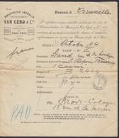 """Lettre De Voiture """"Messageries Van Gend"""" De BRUXELLES 31 Octobre 1904 - Envoi De Vins à GAND - Cachet """"MESSAGERIES / 1 / - Unclassified"""