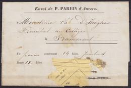 Bordereau D'envoi Charcutier PAREIN (ANVERS) Pour Deux Jambons à GRAMMONT - 9 Août 1863 Via Chemin De Fer De L'Etat - Unclassified