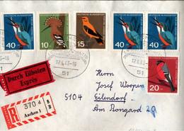! 12.6.1963 FDC, Ersttagsbrief, Für Die Jugend, Vögel, Birds, Eilboten, Einschreiben, Nr. 404 Abart Baune Schwanzspitze - Brieven En Documenten