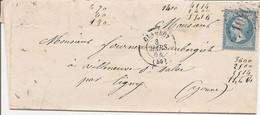 NIEVRE (56)  LAC ( écrite à LA VIGNELLE) OBLI GC 1040 CLAMECY Sur NAP Pour VILLENEUVE ST SALVES Par LIGNY - 1849-1876: Classic Period
