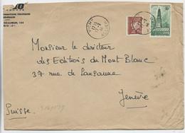 ARRAS 10FR +PETAIN 1FR20 LETTRE VICHY 17.2.1944 POUR SUISSE + CENSURE NAZI TARIF RARE - 1921-1960: Modern Tijdperk