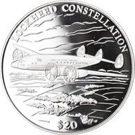 Monnaie, Liberia, Lockheed Constellation, 20 Dollars, 2000, Proof, FDC, Argent - Liberia