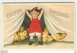 N°13722 - Carte Gaufrée - Easter Greetings - Fillette Avec Des Poussins - Easter