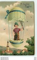 N°13726 - Carte Gaufrée - A Joyful Easter - Garçon Dans Un Ballon En Oeuf - Easter