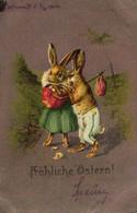 Ostern, Hasen, Osterhasen, 1904 Nach Pilsen Versandt - Easter