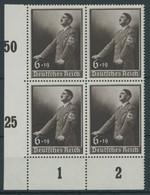 Dt. Reich 694  VB **, 1939, Tag Der Arbeit Im Unterrandviererblock, Postfrisch, Pracht, Mi. 64.- - Ungebraucht