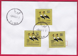 SOUTH SUDAN 2017 Cover W/ Surcharged Overprint Set On 2012 5 SSP Birds Saddle-billed Stork Stamp SOUDAN Du Sud Südsudan - South Sudan