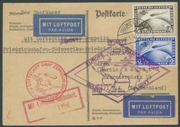 Dt. Reich 438/9X BRIEF, 1930, Südamerikafahrt, Wz. Stehend, Auf Südamerikafahrt Karte (senkrecht Gefaltet), Kleine Zahnm - Briefe U. Dokumente
