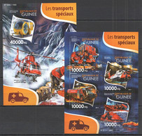 ST249 2015 GUINEE GUINEA TRANSPORT HELICOPTERS LES TRANSPORTS SPECIAUX KB+BL MNH - Helicópteros