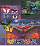 F961 ANTIGUA & BARBUDA BUTTERFLIES 1BL+2KB MNH - Farfalle