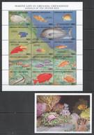 G1002 GRENADA GRENADINES FAUNA FISH & MARINE LIFE ANIMALS DEEPER REEF 1SH+1BL MNH - Vita Acquatica
