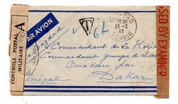 Haiphong. Tonkin.Lettre Pour Dakar Senegal Par Bagdad . Controle Postal Militaire. Cachets Taxe,controle Etc.. - Brieven En Documenten