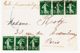 France, De Paris 106 En 1911 Tarif à 30c Des Pneumatiques Avec 6 Semeuse à 5  C TB - Tariffe Postali