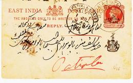Inde , De  Barnala , En 1896 Entier  Surchargé Patiala State    TB - Patiala