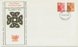 """GB REGIONALS WALES 1976 Machin 10P + 11P Superb Ill. FDC FDI-CDS """"LONDON.W.C."""" - Wales"""