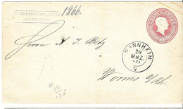 Baden Mannheim To Worms Written On Envelope 1866, Cancel D1 21/3 In Circle On Back - Bade