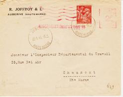 France,  D'Auberive ( Haute Marne )en 1945, Complément 2 F D'un Iris à 1,50 F  TB - Annullamenti Meccaniche (Varie)