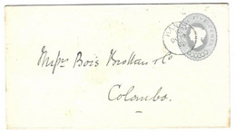Sri Lanka Ceylon Old Stationary From The Holy City Of Kandy To Colombo1893 - Ceylon (...-1947)