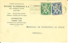 """CP De ANVERS ( Antwerpen ) """" Antoine Vloeberghs S.a , Anthracites , Charbons , Cokes , ..."""" 1945 Pour Eghezée - Antwerpen"""