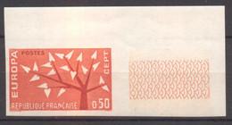 Superbe Coin De Feuille Europa YT 1359 De 1962 Sans Trace Charnière - Imperforates