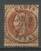 Timbre France En Oblitere Empire Francais Lauré  Napoléon 3  Dentelé  N 26a Chocolat - 1863-1870 Napoléon III Lauré
