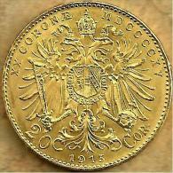 AUSTRIA 20 KORONA EAGLE EMBLEM FRONT MAN EMPEROR BACK 1915 AU GOLD KM? UNC READ DESCRIPTION CAREFULLY!! - Autriche