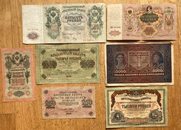 7 X Large Russian And Polish Banknotes - Rusland